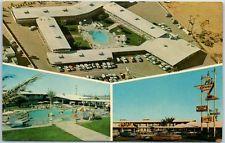 Lancaster, California Postcard CARAVAN INN Motel - Aerial & Pool Views c1960s