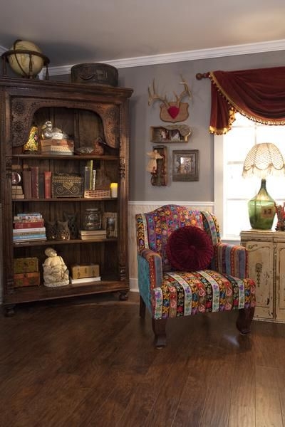 A patterned chair plays well with other vintage, old-world elements in this reading corner. See more Junk Gypsy designs here >> http://www.greatamericancountry.com/shows/junk-gypsies?soc=pinterest