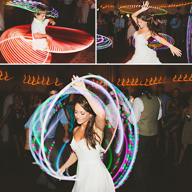 Hula hoops after cake on the dance floor. Way to pick things back up on the dance floor. And I love these light up ones.