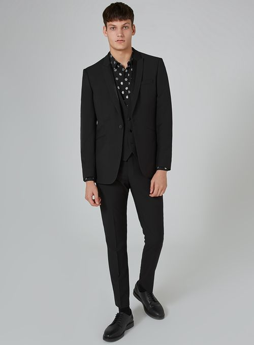 Black Textured Skinny Three Piece Tuxedo Suit - Three Piece Suits - Suits - TOPMAN USA