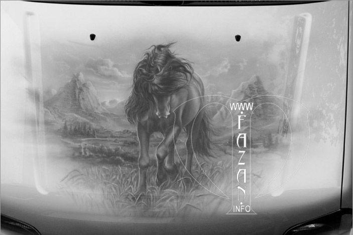 Аэрография на капоте  #airbrush #cars #auto #art #nature #animals #horse #home #beauty #painting #dream