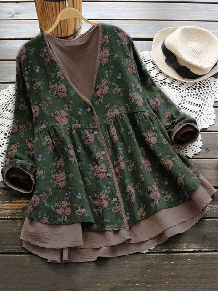 O-NEWE Vintage Floral Printed V-Neck Fake Two-Piece Shirt