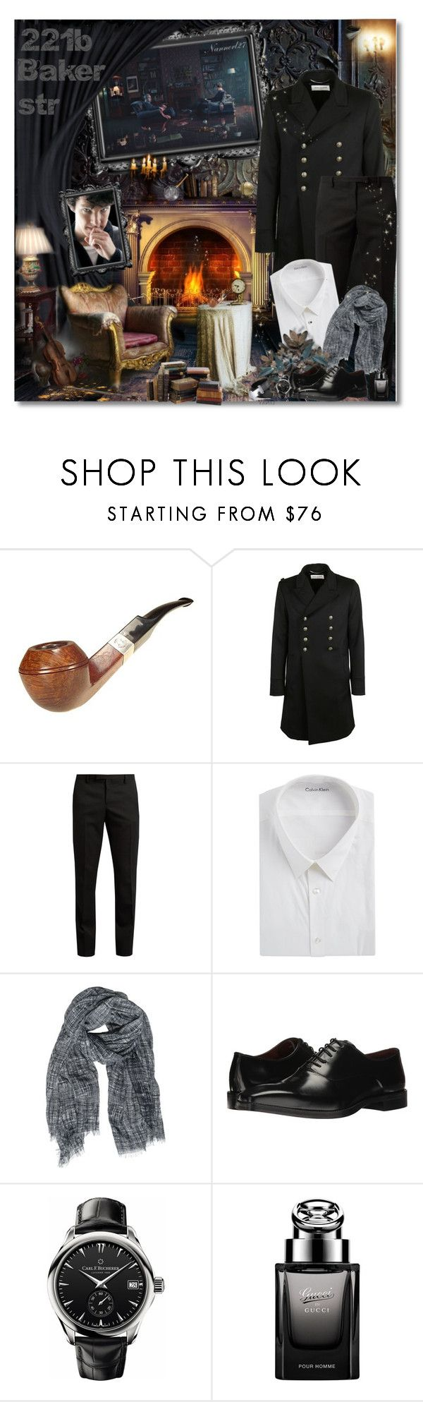 """""""221b Baker str"""" by nannerl27forever ❤ liked on Polyvore featuring Episode, Yves Saint Laurent, Calvin Klein, Destin Surl, Massimo Matteo, Carl F. Bucherer, Gucci, men's fashion and menswear"""