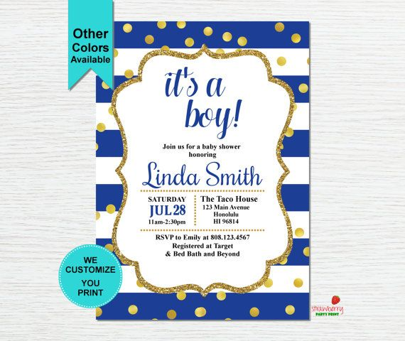 2630 best baby shower invitations images on pinterest royal blue baby shower invitation its a boy invite gold filmwisefo