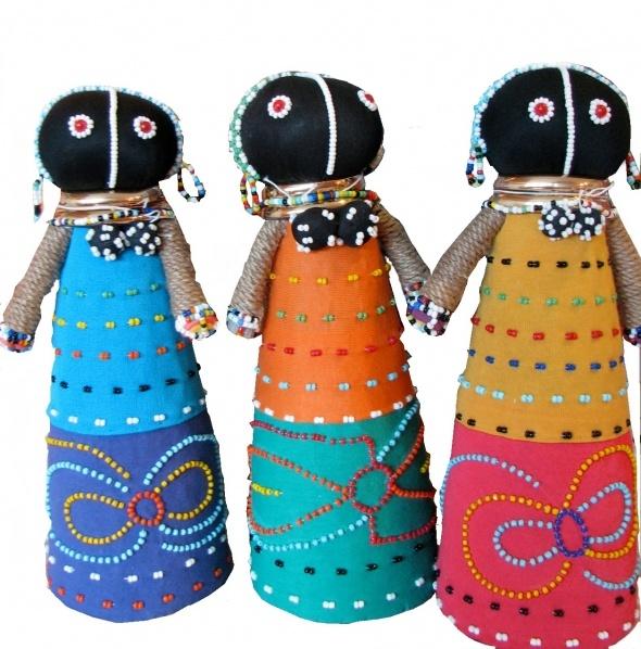 S. Africa Folk Art Doll World Class: South African folk art dolls black tights, hemp, beads, paper, wire, thread, 3 or 4 week class.