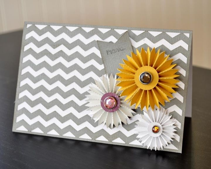 so perfect!: Silhouette Cards, Cute Cards, Cards Ideas, Chevron Paper, Paper Flower, 3D Cards, Chevron Cards, Paper Rosette, Diy Cards
