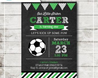 Soccer Chalkboard Birthday Party Invitation / DIY Party Printables / First Brithday / Free Thank You Card (CBI43)