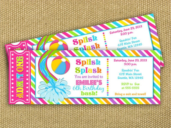 17 Best images about Water slide party – Water Slide Party Invitations