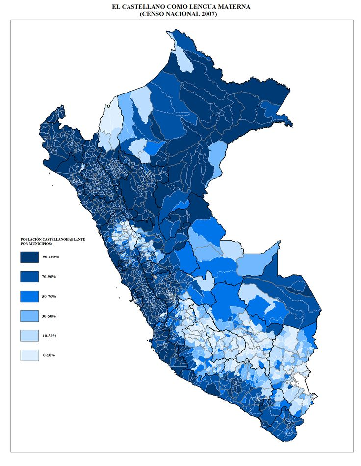 23 best ethno lang am images on pinterest language geography the map shows the distribution of persons with their native tongue in castilian to the regions of peru sciox Image collections