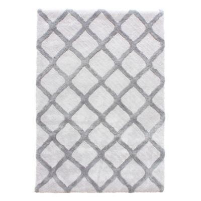 Alfombra rombos blanco/gris 60x90 cm
