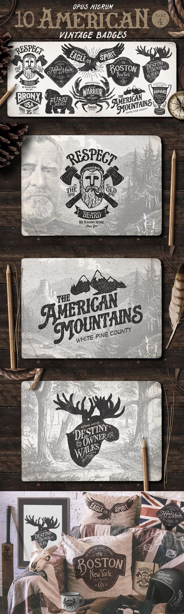 American Vintage Badges Vector Template EPS, AI #design Download: https://creativemarket.com/OpusNigrum/58511-American-Vintage-Badges-Part-4?u=ksioks