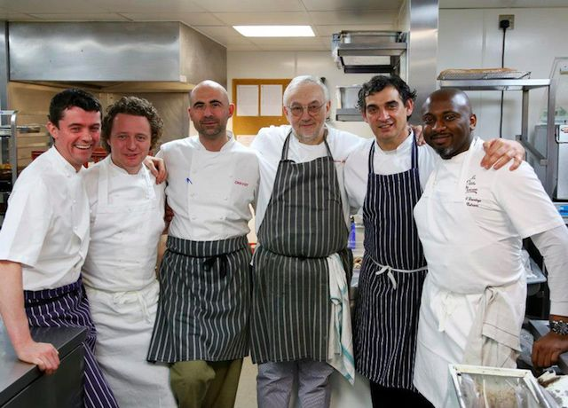La Réunion des Chefs (Pierre Koffmann and proteges) | From left to right: William Curley, Tom Kitchin, Eric Chavot, Pierre Koffmann, Bruno Loubet, Raphael Duntoye (photo: Network London PR)