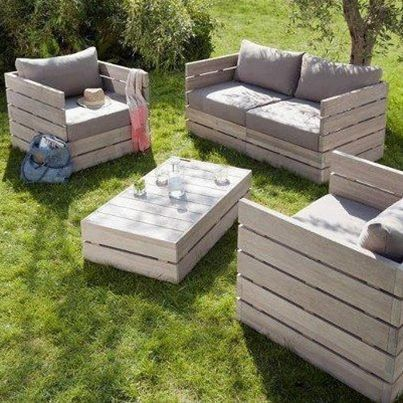 Outdoor furniture made out of pallets.
