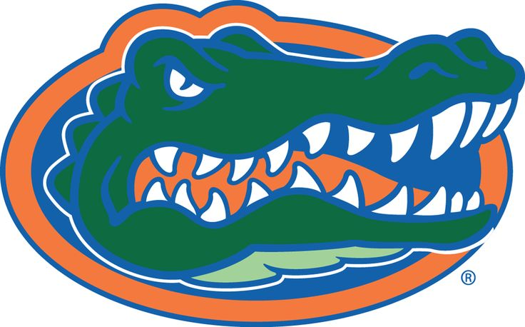 Florida Gators Primary Logo (1995) - A gator's head in the middle of an orange and blue oval