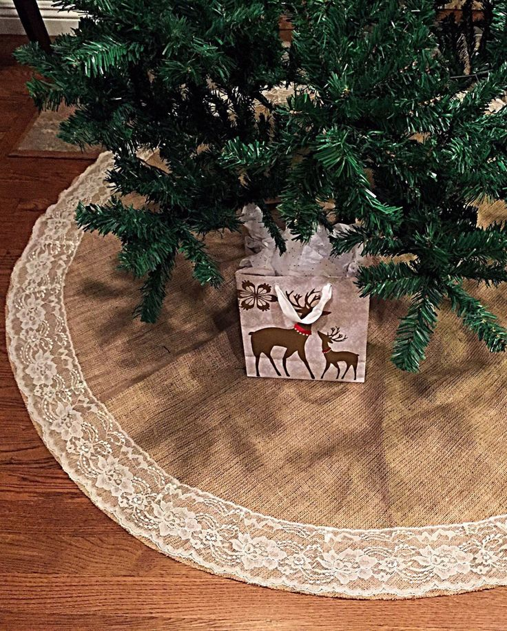 Burlap and lace Christmas tree skirt. A personal favorite from my Etsy shop https://www.etsy.com/listing/258658075/burlap-and-lace-christmas-tree-skirt-60  #treeskirt #christmastreeskirt #burlapandlace