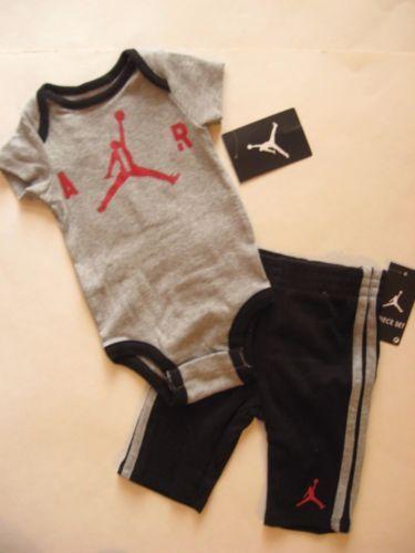 New-NIKE-Jordan-Jumpman-2pc-Infant-Baby-Boy-Gray-Bodysuit-Black-Pants-0-3-9-12M