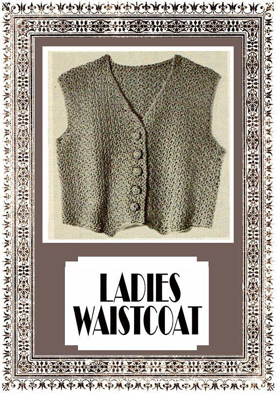 PDF Vintage 1950s Womens Ladies Crochet Pattern Waistcoat