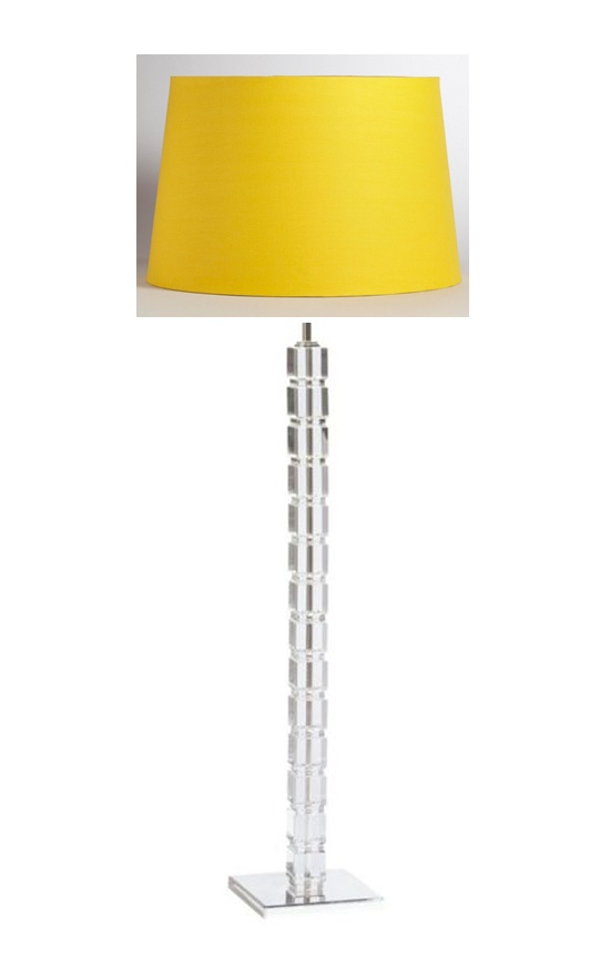 Grandma's crystal floor lamp base with World Market yellow floor lamp shade, $27.99