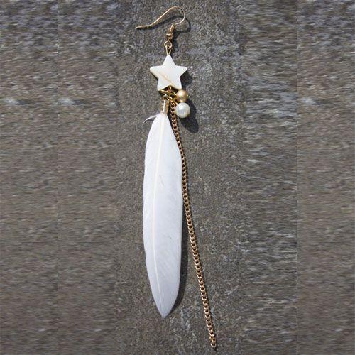 Boucles d'oreilles tige métal doré vraie plume et perles Artisanal 28 Avril…