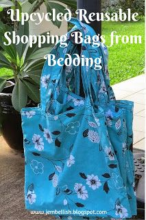 Reusable Shopping bags from bedding - an upcycle tutorial. Never use plastic bags for your shopping again. Simple, clear, photo laden sewing tutorial - use an old sheet or duvet cover to make yourself some pretty bags!