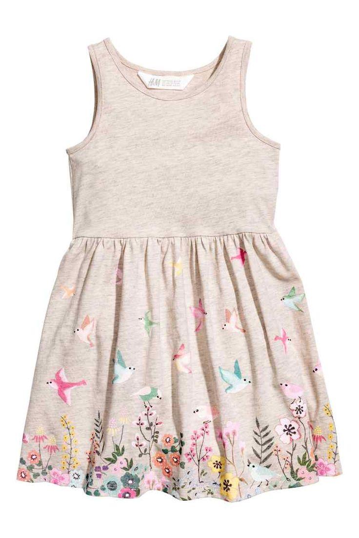 Vestido estampado de punto - Beige claro jaspeado - NIÑOS   H&M ES