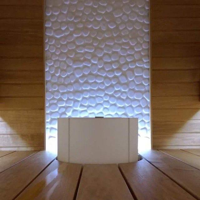 Tulikivi Sumu electric sauna heater in white, beautiful white accent tile!