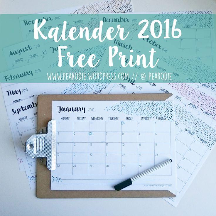 Kalender 2016 - free printable