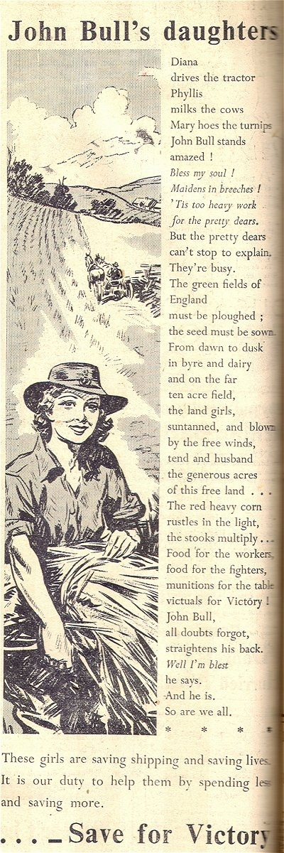 """Advertisement entitled """"John Bull's Daughters"""" includes a drawing of a Land Girl harvesting and the poem """"Diana drives the tractor"""" (Bedfordshire Times, 13 August 1943 p10)."""