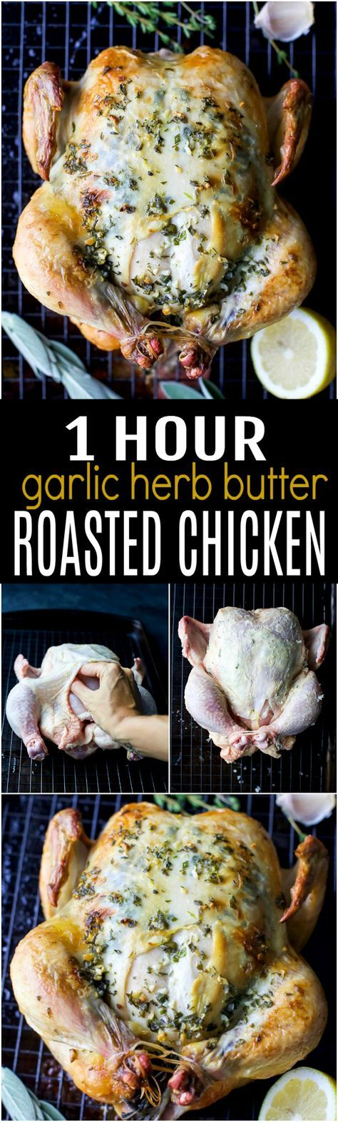 1 Hour Roasted Chicken slathered in a garlic herb butter that will make you swoon. This easy healthy roasted chicken recipe is guaranteed to be a new family favorite! #ad @JustBARE