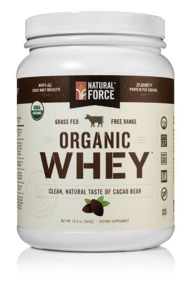 Natural Force® Organic Whey Protein Powder *RANKED #1 BEST TASTING* Grass Fed Whey - Undenatured Whey Protein - Raw Organic Whey, Paleo, Gluten Free Natural Whey Protein, Cacao Bean, 14.8 oz.