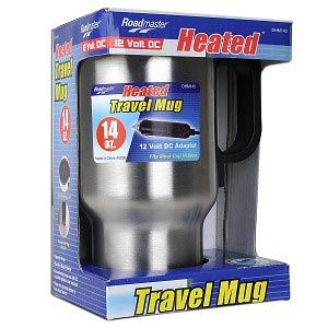 Roadmaster 14oz Travel Mug Stainless Steel Heated Electronic w/12v DC Adapter