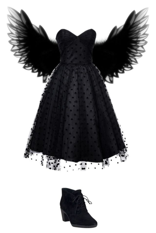 """DIY Dark Angel Halloween Costume"" by briannalopez15 ❤ liked on Polyvore featuring beauty, Iconic by UV and Clarks"