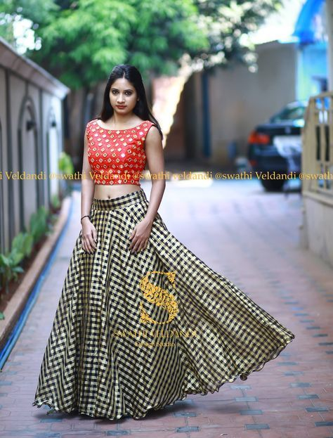 e8d611b5abeb5 Beautiful plaid lehenga and red color crop top with hand embroidery mirror  work.call   watsapp +918179668098 for detailsNote   They can customize the  colors ...