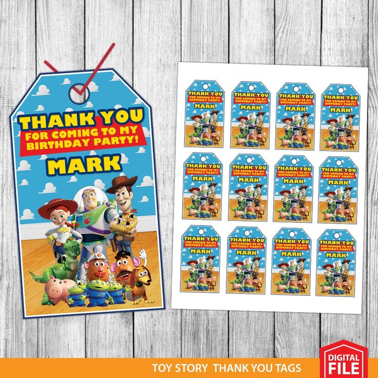 Toy Story Thank You Tags, Toy Story Favor Tags, Toy Story Gift Tags, Toy Story Tags, Toy Story Tag Printable, Toy Story Birthday Tags by MrPartyInvites on Etsy https://www.etsy.com/listing/499997805/toy-story-thank-you-tags-toy-story-favor