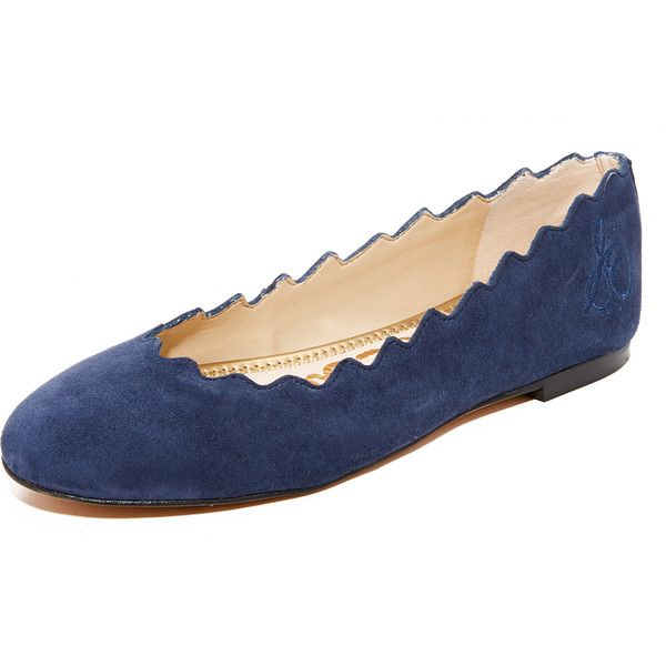 Sam Edelman Francis Flats ($120) ❤ liked on Polyvore featuring shoes, flats, inky navy, ballet flat shoes, leather ballet shoes, navy blue leather flats, ballet shoes and scalloped flats