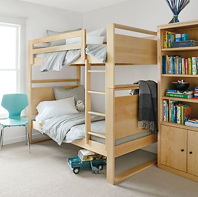 Our modern Dayton kids' bunk bed is handcrafted in the U.S. using solid maple. Simple styling allows it to work seamlessly with other Room & Board collections and with furniture already in your child's room.