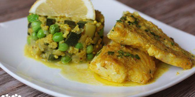 Treska na kari s maslovo-citrónovou omáčkou a cuketové pšenoto - Tinkine recepty