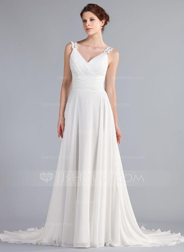 A-linjeformat V-ringning Court släp Chiffong Bröllopsklänning med Rufsar Pärlbrodering Applikationer Spetsar (002011603) - JJsHouse