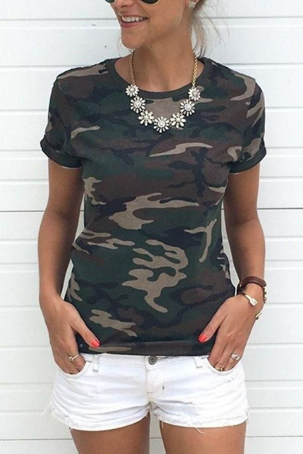 cc71f7d42e33 Round Neck Camouflage T-Shirts in 2019 | T Shirts for Women ...