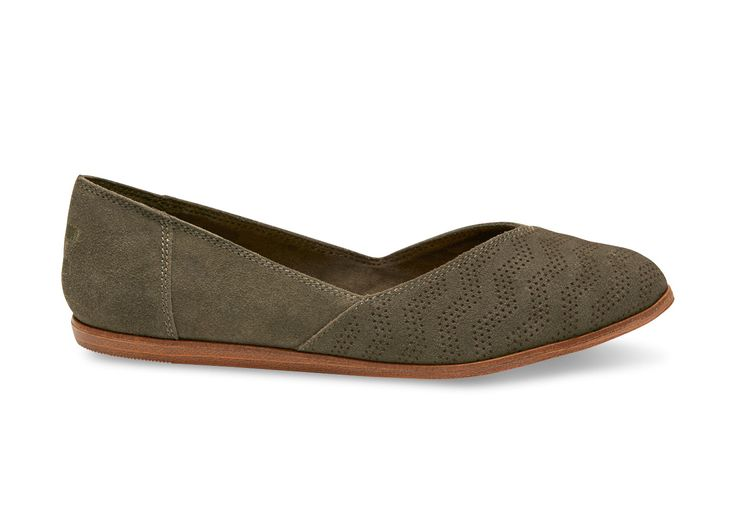 Olive Tarmac Olive Chevron Embossed Suede Women's Jutti Flats