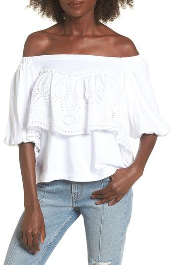 59a3e44d9a8194 Free shipping and returns on BP. Eyelet Ruffle Off the Shoulder Top at  Nordstrom.com. Pretty eyelet ruffles add playful movement to the off-the- shoulder ...