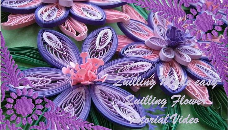 Paper Quilling  How to make Beautiful Quilling Purple/White Flower Quill...