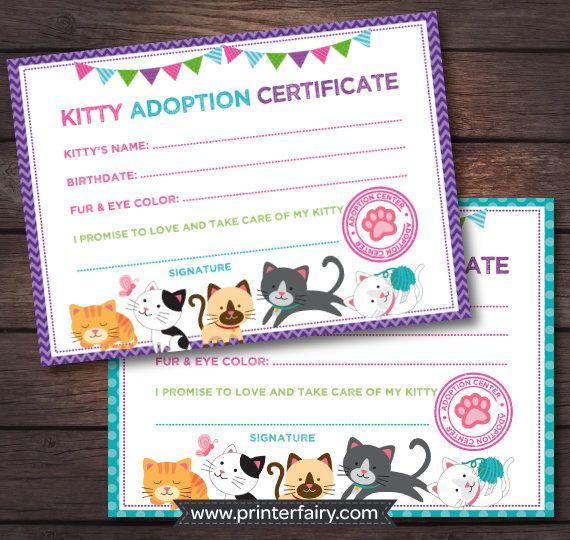 Kitty Cat Birthday, Kitten adoption certificate, Cat adoption birthday, Kitty birthday, Digital files, Instant download