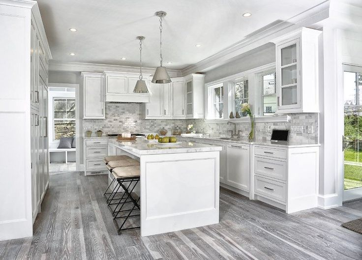 White Kitchen Gray Backsplash