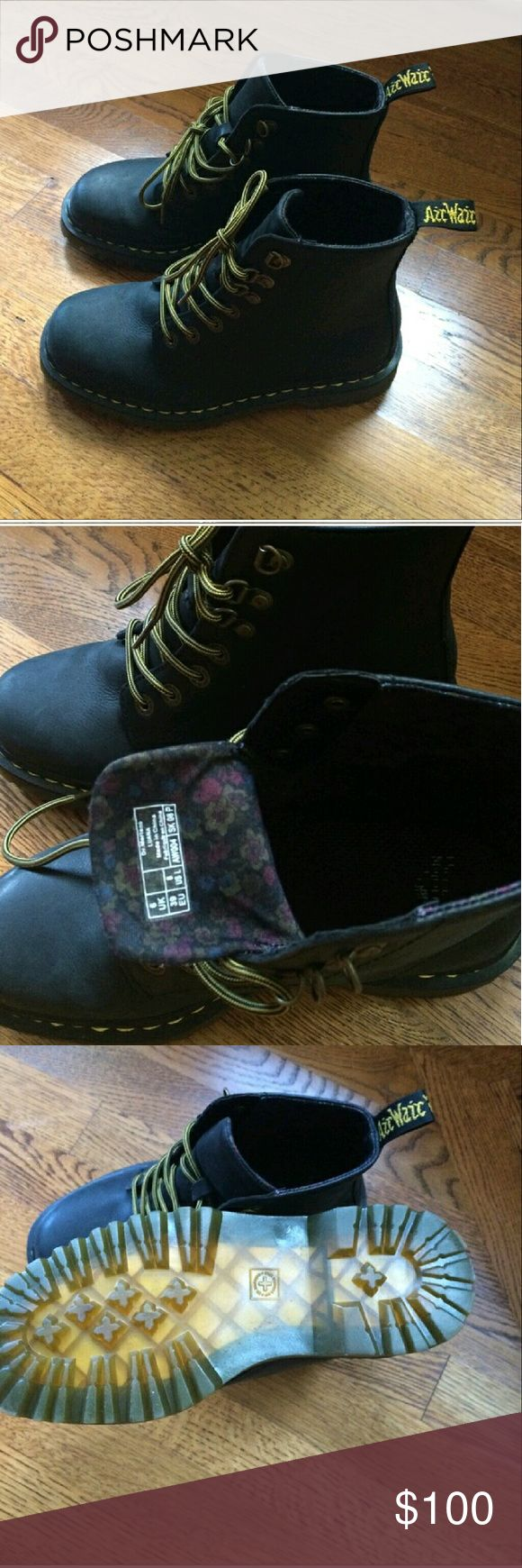 Black Matte Doc Martens Matte black with floral lining. Worn a few times. Great condition. Open to offers! Dr. Martens Shoes Combat & Moto Boots