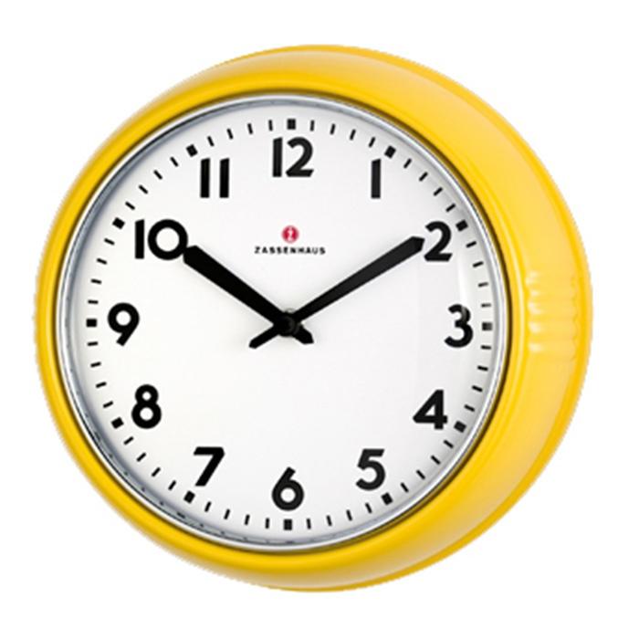 Zassenhaus Retro Wall Clock Yellow Gult Er Kult