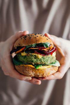 monster vegan burger (corn, peas, white beans, parsley)
