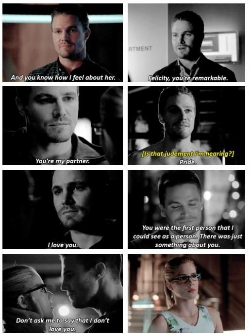"Arrow - Oliver and Felicity #Olicity <3 ""And you know how I feel about her."" <3"