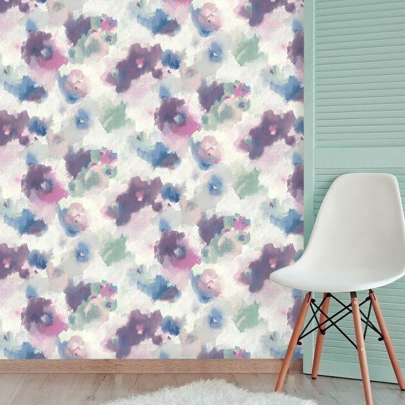 Roommates Impressionist Floral Peel Stick Wallpaper Floral Wallpaper Peel And Stick Wallpaper Temporary Decorating