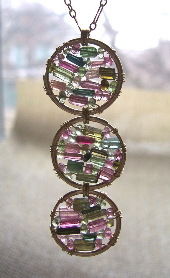 Tourmaline Stained Glass Necklace by dnajewelrydesigns on Etsy, $86.00